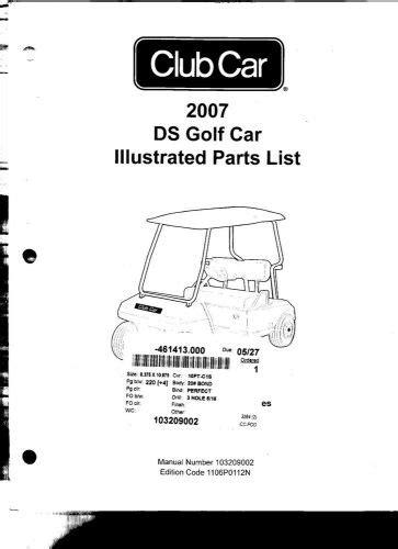 Sell Club Car Illustrated Parts List Club Car Ds 2007