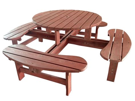 table patio ronde table ronde de jardin avec bancs 8 places en bois marron