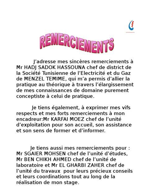 Présentation Lettre De Remerciement Rapport De Stage 08