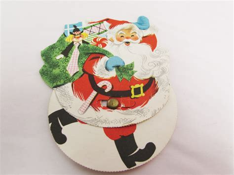 moveable rushing santa greeting card christmas greeting card