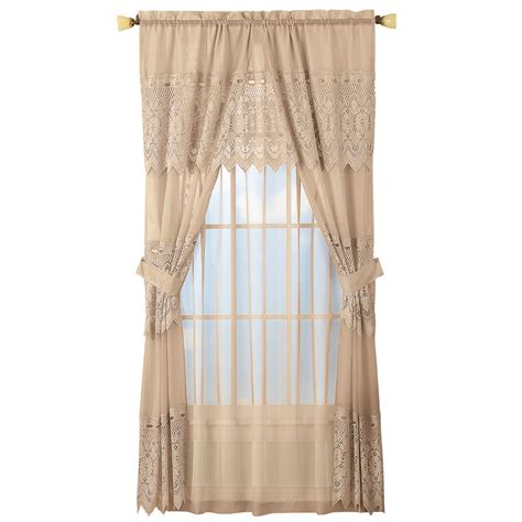 lace sheers curtains sheer lace curtain and valance set ebay