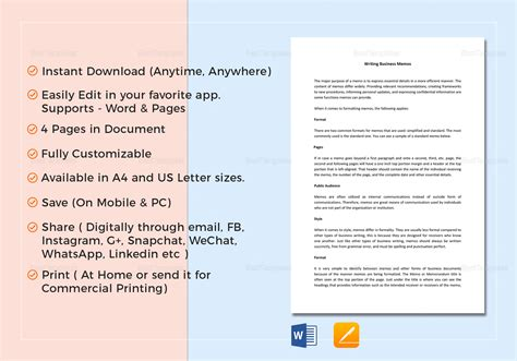 Memo Template Pages Mac business memo template in word docs apple pages