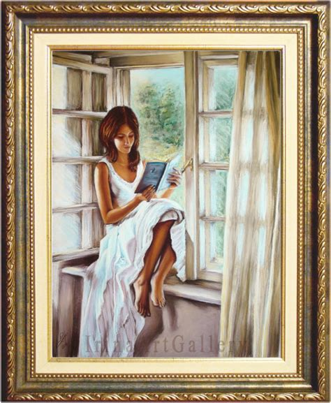 the window picture book reading book window sunlight pastel painting interior