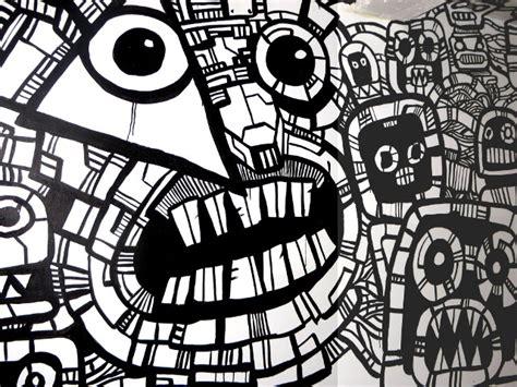 Oblongku T Shirt Graffiti Putih robot mural continues heyapathy surreal comics