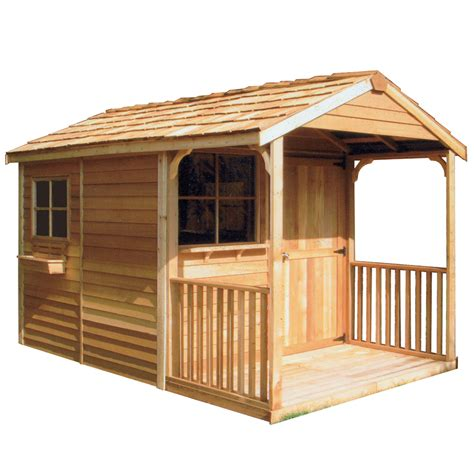 shop cedarshed clubhouse gable cedar wood storage shed common  ft   ft interior