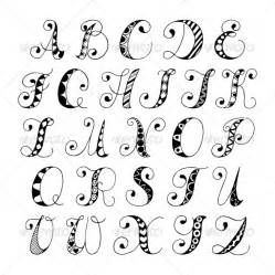 Decorative Writing Letters Of The Alphabet In Different Types Of Writing