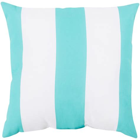 awning stripe aqua outdoor 26 inch pillow with poly fill