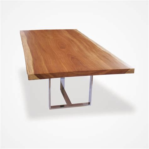 live edge wood slab stainless steel dining table