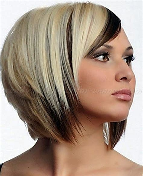 short hairstyles blonde and brown short inverted bob with highlights and lowlights short