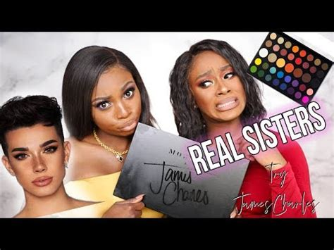 james charles palette trailer real sisters try james charles x morphe palette are