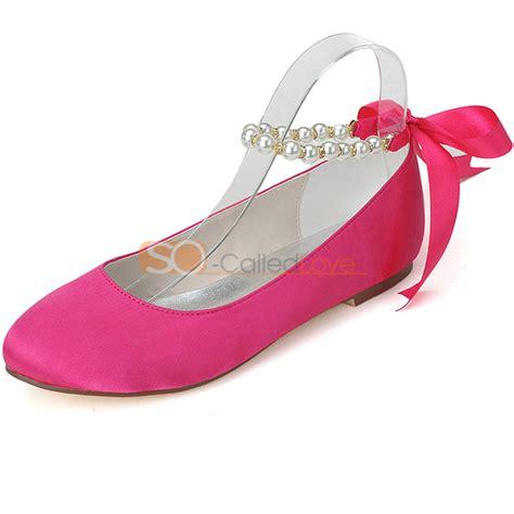 Verona Pink Flatshoes toe wedding bridal bridesmaid flats shoes satin pearl with ribbon 5 9 5 ebay