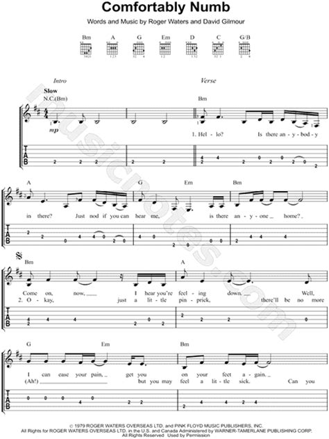 Songs Like Comfortably Numb by Pink Floyd Quot Comfortably Numb Quot Guitar Tab In B Minor