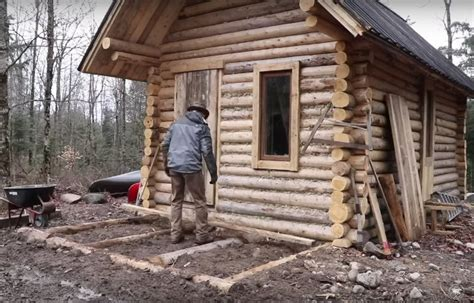 how to build a cabin house timelapse of a building a log cabin from scratch with