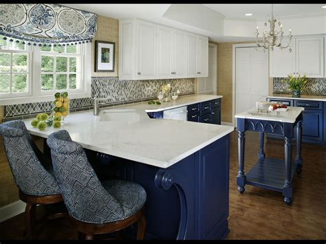 Kitchens With Different Colored Islands blue and white kitchen designing tips home and cabinet