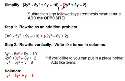 Addition And Subtraction Of Polynomials Worksheet by Subtracting Polynomials