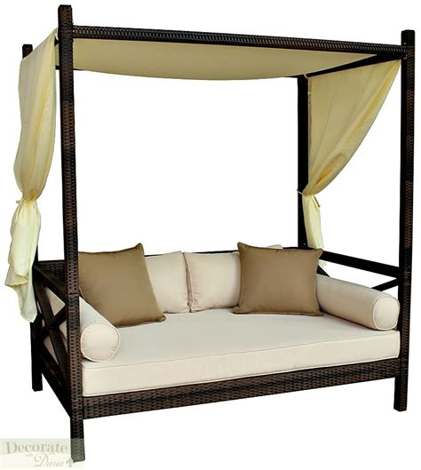 outdoor loveseat with canopy outdoor bali style sun day bed lounger sofa w canopy patio