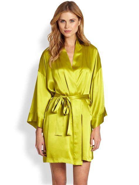 silk robes josie natori silk robe in green melon lyst