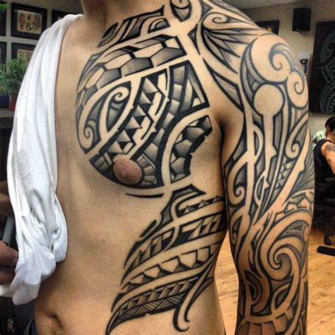 super clean polynesian tribal chest piece and sleeve