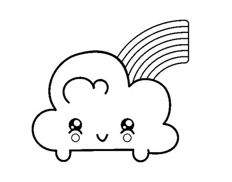 coloring page rainbow with clouds cloud with rainbow kawaii coloring page coloringcrew com