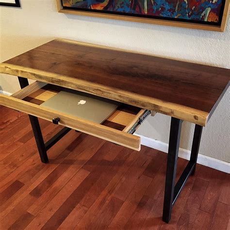 live edge computer desk crafted walnut live edge desk with forged metal