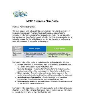 nfte business plan template business plan exles for students forms and templates