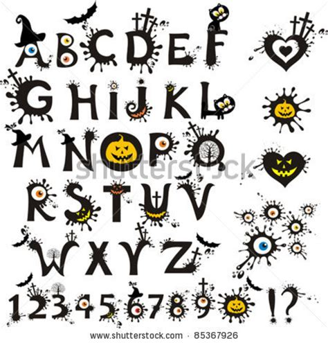 Free Printable Halloween Alphabet Letters | 9 best images of printable scary letters scary alphabet