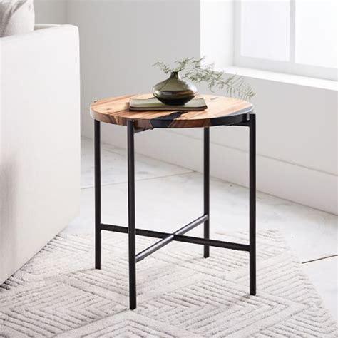 west elm flat bar storage desk wood resin round west elm
