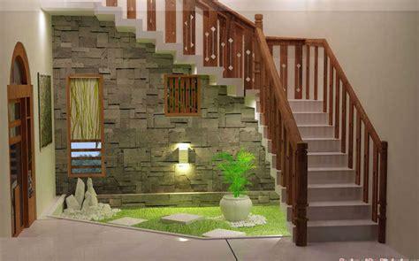 design dapur kecil dibawah tangga model taman hias unik dalam rumah minimalis modern