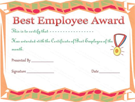 employee award certificate templates free employee of the year certificate