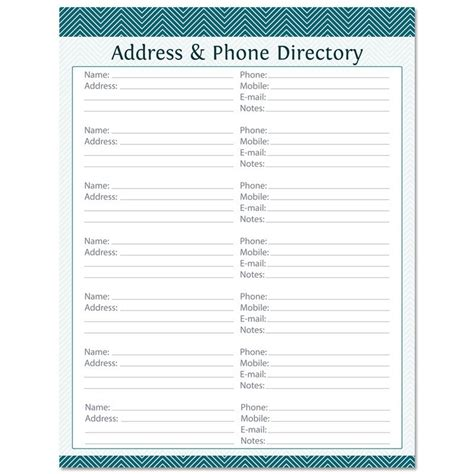 address directory template address phone directory fillable printable pdf instant