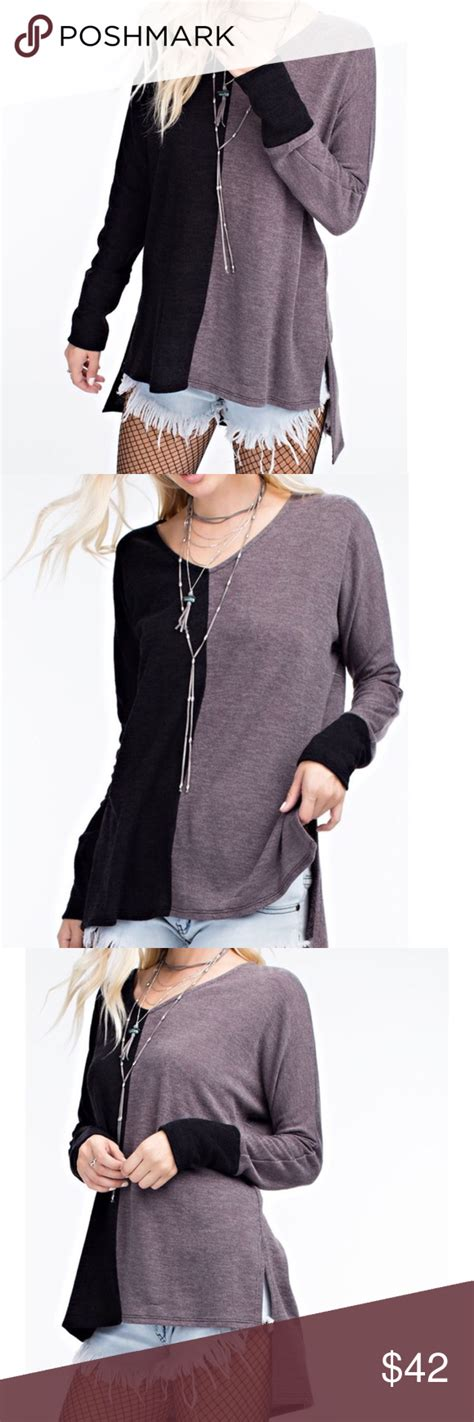 knit aesthetic color block aesthetic edge knit tunic color block