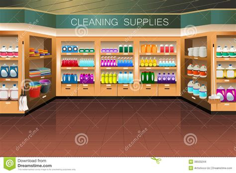 supply section grocery store cleaning supply section stock images