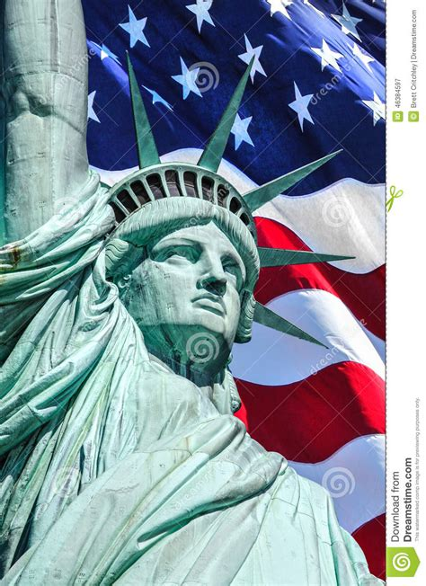 statue of liberty and flag 4th of july liberty and flag stock photo image 46384597