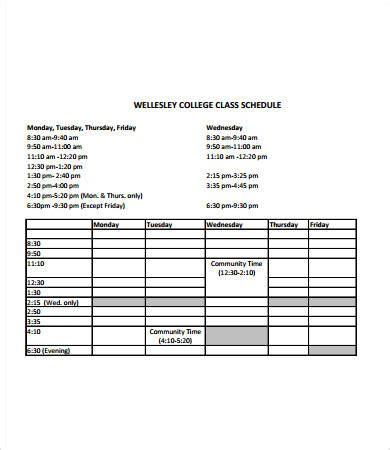 College Class Schedule Template 6 Free Pdf Documents Download Free Premium Templates College Class Schedule Template