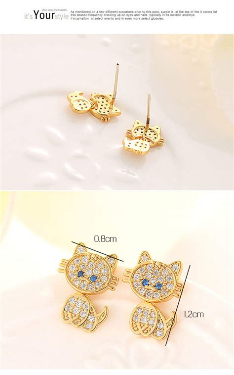 Decorated Cat Earring T6ea8e lovely silver color decorated cat shape design