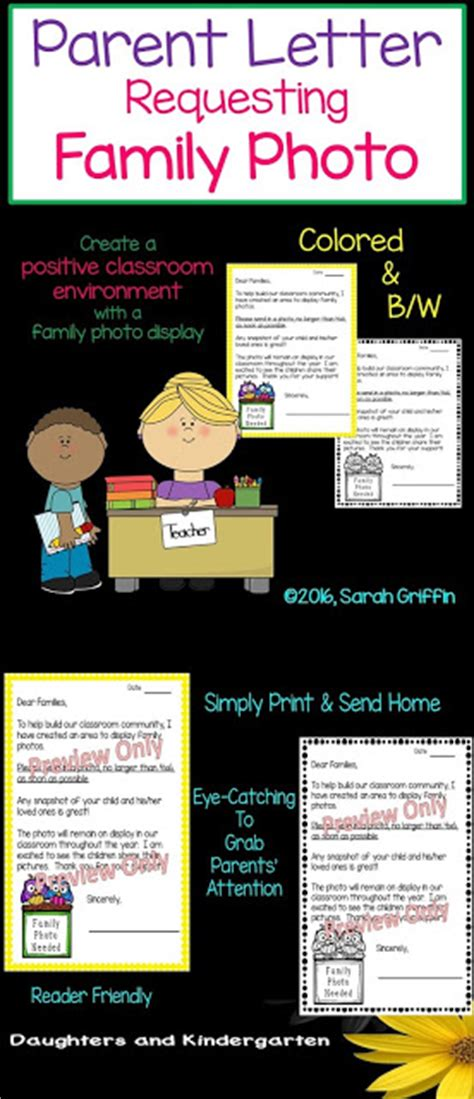 Parent Letter Requesting Family Photo Daughters And Kindergarten Basics Of A Kindergarten Classroom