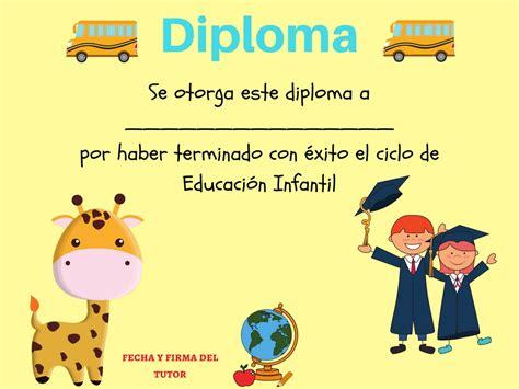 para ni os e infantil diplomas para imprimir gratis para ni os colecci 243 n de diplomas infantiles para fin de curso editar