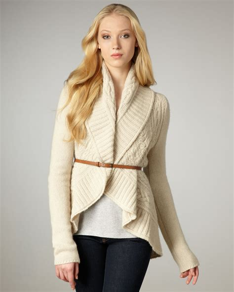 autumn cashmere draped cardigan autumn cashmere draped cable knit cardigan in white lyst