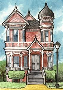 victorian houses 5x7 three print set by geneploss on etsy victorian house coloring page free printable coloring pages