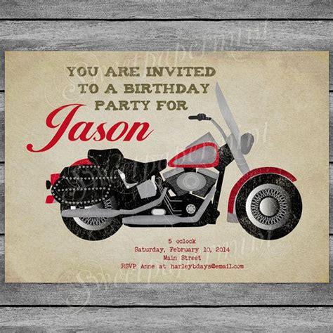 Vintage harley davidson motorcycle boy birthday invitation card print