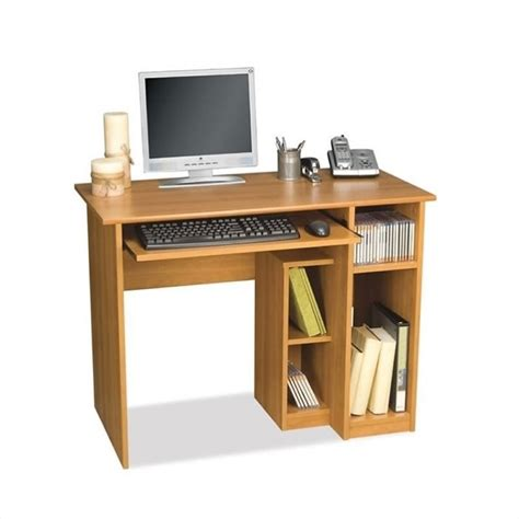 pc desk bestar basic small wood computer desk in cappuccino cherry