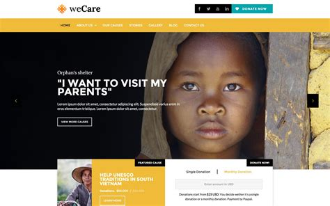 Wecare Charity Html5 Responsive Website Template Charity Website Design Templates