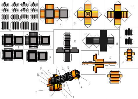 Gun Papercraft - papercraft automatic peachmaker m2 pixel gun 3d