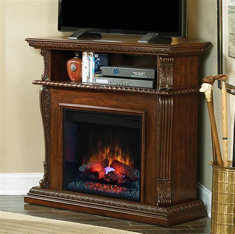 corinth 23 quot burnished walnut electric fireplace cabinet