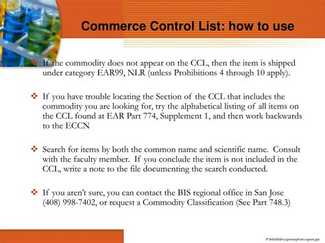 supplement 1 to part 774 ppt controlled commodities powerpoint presentation id