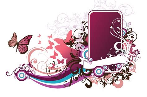 Rdws 09 Wallpaper Bunga Pink Batik vector abstract floral frame free vector graphics all
