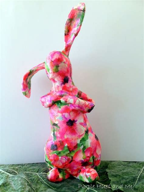Easter Rabbit Bunny Paper Mache - recycled decoupaged paper mache bunny update paper