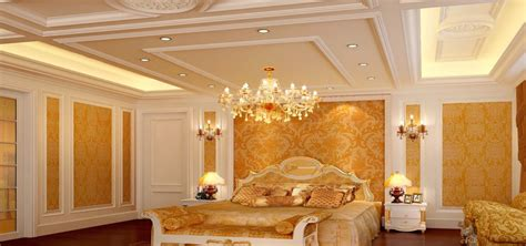 white and gold luxury bedrooms for villa