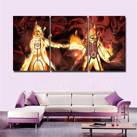 sexy home decor new hot sel 3 pcs modular home decor wall art naruto anime