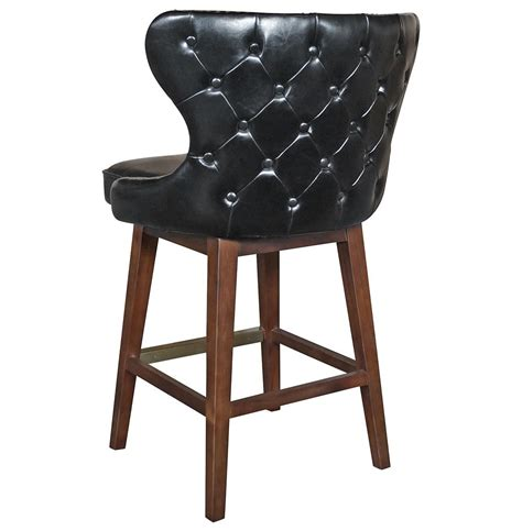 Tufted Leather Counter Stool by Dancy Masculine Black Leather Tufted Swivel
